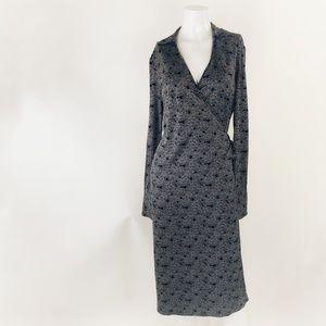 Banana Republic Silk Blend LS Wrap Dress Size M